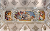 VENICE, ITALY - MARCH 11, 2014: Ceiling fresco from church Santa Maria del Rosario (Chiesa dei Gesuati) by Giovanni Battista Tiepolo from 18. cent. Saint Dominic with the rosary and Madonna. — Stock Photo