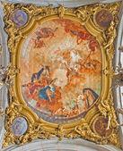 Venice, İtalya - 12 Mart 2014: St dominic cappella di san domenico giambattista piazzetta 1727 basilica di san giovanni e paolo kilise içinde tarafından tavan üzerinden tanrılaştırma. — Stok fotoğraf