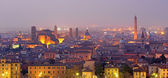 Bologna - Outlook to Bologna old town from church San Michele in Bosco in evening dusk — Stock Photo