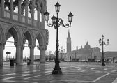 Venice - Doge palace and Saint Mark square and San Giorgio Maggiore church in background in morning light. — Stok fotoğraf