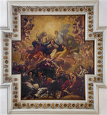 VENICE, ITALY - MARCH 12, 2014: Ceiling fresco from church chiesa di Santa maria del Giglio. Coronation of Virgin Mary  by Antonio Zanchi. — Stock Photo