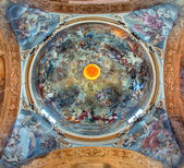 BOLOGNA, ITALY - MARCH 16, 2014: Fresco in cupola of Saint Paul or Chiesa di San Paolo baroque church from 17. cent. by Antonio and Giuseppe Rolli. Saint Paul in heaven is the central scene. — Stock Photo