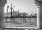 Venice - Waterfront of Saint Mark square and column of Doge palace and San Giorgio Maggiore church in background in morning light. — Stock Photo