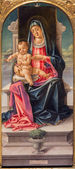 VENICE, ITALY - MARCH 12, 2014: Madonna on the tron and saints by Bartolomeo Vivarini (1430 - 1499) in Cappella Bernardo and church Basilica di Santa Maria Gloriosa dei Frari. — Stock Photo