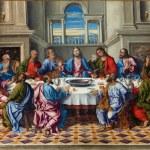 """VENICE, ITALY - MARCH 14, 2014: The Last supper of Christ """"Ultima cena"""" by Girolamo da Santacroce (1490 - 1556) in church San Francesco della Vigna. — Stock Photo #47639653"""