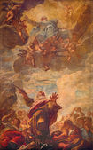 VENICE, ITALY - MARCH 12, 2014: The Ceiling fresco of scene - Moses Strikes Water from a Rock in church Chiesa di San Moise. — Stock Photo