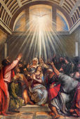 VENICE, ITALY - MARCH 13, 2014: The Descent of the Holy Ghost by Titian (1488 - 1576) in church Santa Maria della Salute. — Stock Photo