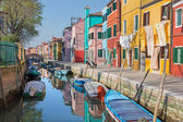 VENICE, ITALY - MARCH 13, 2014: Houses over canal from Burano island — Stock Photo