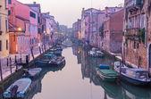 Venice - Fondamenta de la Sensa and canal in morning from Ponte de la Malvasia bridge. — Stock Photo