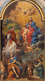 BOLOGNA, ITALY - MARCH 15, 2014: Madonna in the glory with the st. Ignace, angels and saints by D. Creti (1736) in Dom - Saint Peters baroque church. — Foto Stock