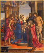 BOLOGNA, ITALY - MARCH 16, 2014: Madonna and saints Peter, Paul, John the Baptist, Katherina and Sebastian by Filippino Lippi (1501) in church Chiesa di San Domneico - Saint Dominic church. — Stock Photo