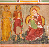 "TREVISO, ITALY - MARCH 18, 2014: Fresco of Madonna dell ""Umiiita"" - 	Madonna of humanity by unknown local painter from 15. cent. in saint Nicholas or San Nicolo church. — Stock Photo"