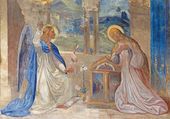 ROZNAVA, SLOVAKIA - APRIL 19, 2014: Fresco of Annunciation by Teodor Kolbay (1863) in the cathedral. — Stock Photo