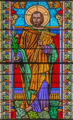 ROZNAVA, SLOVAKIA - APRIL 19, 2014: St.Joseph from windowpane from 19. cent. in the cathedral. — Stock Photo