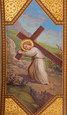 VIENNA, AUSTRIA - FEBRUARY 17, 2014: Fresco of symbolic scene of little Jesus with the cross by Josef Kastner 1906 - 1911 in Carmelites church in Dobling. — Stock Photo