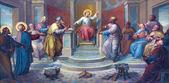 VIENNA, AUSTRIA - FEBRUARY 17, 2014: Fresco of scene - Little Jesus among scribes in the Temple by Josef Kastner from 1906 - 1911 in Carmelites church in Dobling. — Stock Photo