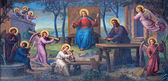 VIENNA, AUSTRIA - FEBRUARY 17, 2014: Fresco of Holy Family in workroom by Josef Kastner from 1906 - 1911 in Carmelites church in Dobling. — Stock Photo
