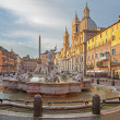 Rome - Piazza Navona in morning and Fountain of Neptune (1574) created by Giacomo della Porta and Santa Agnese in Agone church — Stock Photo #48948739