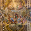 BOLOGNA, ITALY - MARCH 16, 2014: Fresco in cupola of Saint Paul or Chiesa di San Paolo baroque church from 17. cent. by Antonio and Giuseppe Rolli. Sermon of st. Paul in Athene is the central scene. — Stock Photo #48959021