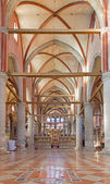 VENICE, ITALY - MARCH 12, 2014: Nave of church Santa Maria Gloriosa dei Frari. — Stock Photo