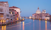Venice - Canal grande in evening dusk from Ponte Accademia — Stock Photo