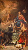 VENICE, ITALY - MARCH 13, 2014: The Holy Family with the st. Anthony of Padua  and st. John the Baptist by Gaspere Diziani 1755 in church Chiesa dei Santi. XII Apostoli — Stock Photo