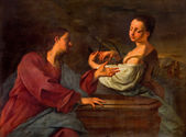 "VENICE, ITALY - MARCH 14, 2014: ""Rebecca al pozzo"" - Paint of Rebecca and Isaac at the well scene in church San Francesco della Vigna by Micola Brassi (1700). — Stock Photo"