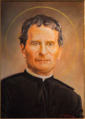 BOLOGNA, ITALY - MARCH 15, 2014: Fine art portrait of Saint Don Bosco by P. Porporato (2008) in Dom - Saint Peters baroque church. — Foto Stock