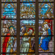BRUGES, BELGIUM - JUNE 12, 2014: The Adoration of Magi scene on the windowpane in St. Salvator's Cathedral (Salvatorskerk). — Stock Photo #48963297