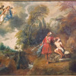 Постер, плакат: BRUGGE BELGIUM JUNE 12 2014: The Abraham and Isaac by Jan van de Kerkhove 1822 1881 in Sint Salvatorskathedraal cathedral of st Savior