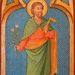 Постер, плакат: BRUGGE BELGIUM JUNE 13 2014: Saint Joseph paint from side altar in st Giles Sint Gilliskerk