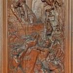 ������, ������: MECHELEN BELGIUM JUNE 14 2014: The Martyrdom of Saint John the Evangelist in a Vat of Boiling Oil by Ferdinand Wijnants in st Johns church or Janskerk from begin of 20 cent