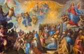 """Treviso, itália - 18 de março de 2014: pintar de """"eu gloriosi misteri""""-os mistérios gloriosos por sante peranda (1566-1638), na igreja de são nicolau ou san nicolo. — Fotografia Stock"""