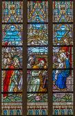 BRUGES, BELGIUM - JUNE 12, 2014: The Adoration of Magi scene on the windowpane in St. Salvator's Cathedral (Salvatorskerk). — Stock Photo