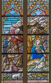 BRUGES, BELGIUM - JUNE 12, 2014: The Adoration of pastores scene on the windowpane in St. Salvator's Cathedral (Salvatorskerk). — Stock Photo