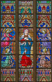 BRUGES, BELGIUM - JUNE 12, 2014: The Virgin Mary on the windowpane in St. Salvator's Cathedral (Salvatorskerk). — Stock Photo