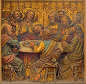 BRUGES, BELGIUM - JUNE 12, 2014: The Carved relief of the Last Supper in St. Salvator's Cathedral (Salvatorskerk). — Stock Photo