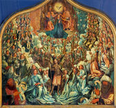 BRUGES, BELGIUM - JUNE 12, 2014: The Coronation of the Virgin by Albert Cornelis (1517 - 1522) in st. Jacobs church (Jakobskerk). — Stock Photo