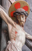BRUGGE, BELGIUM - JUNE 12, 2014: The Crucifixion statue from st. Jocobs church (Jakobskerk). — Stock Photo