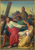 LEUVEN, BELGIUM - SEPTEMBER 3, 2013: Paint of scene Jesus and Veronica on the cross way. by G. Guffens in St. Michael church. — Zdjęcie stockowe