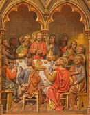 BRUGGE, BELGIUM - JUNE 13, 2014: The Last supper of Christ. Carving form main altar (19. cent.) in st. Giles (Sint Gilliskerk). — Stock Photo