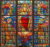 BRUGGE, BELGIUM - JUNE 13, 2014: Jesus Christ from windowpane (19. cent.) in st. Giles (Sint Gilliskerk). — Stock Photo
