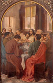BRUGGE, BELGIUM - JUNE 13, 2014: The Last Supper of Christ by Van Heary (1865) in st. Giles (Sint Gilliskerk). — Stock Photo