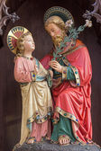 BRUGES, BELGIUM - JUNE 13, 2014: The neo gothic statue of st. Joseph with the little Jesus  in st. Giles (Sint Gilliskerk). — Stock Photo