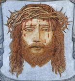 BRUGGE, BELGIUM - JUNE 13, 2014: The head of tortured Jesus Christ by unknown painter in st. Giles (Sint Gilliskerk). — Stock Photo