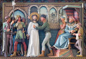 BRUGGE, BELGIUM - JUNE 13, 2014: Relief of scene Jesus for Pilate in st. Giles (Sint Gilliskerk) as part of the Passion of Christ cycle. — Stock Photo