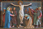 BRUGGE, BELGIUM - JUNE 13, 2014: Relief of Crucifixion of the cross in st. Giles (Sint Gilliskerk) as part of the Passion of Christ cycle. — Stock Photo