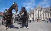 BRUGGE, BELGIUM - JUNE 13, 2014: The Carriage on the Grote Markt and the Provinciaal Hof building in background. — Stock Photo