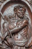BRUGES, BELGIUM - JUNE 13, 2014: The carved relief of Jesus in the bond on the confession box in Karmelietenkerk (Carmelites church) by carmelite Victor van de Heilige Jacob fromk 17. cent. — Stock Photo