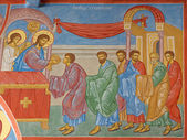 BRUGGE, BELGIUM - JUNE 13, 2014: Fresco of the Communion of the apostle scene in st. Constanstine and Helena orthodx church (2007 - 2008). — Stock Photo
